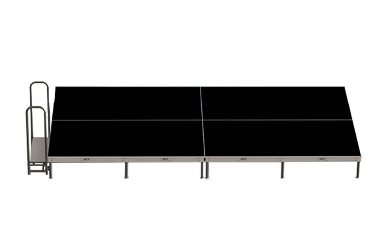 Top Rated Quik Stage 8' x 16' High Portable Stage Package with Black Polyvinyl Non-Skid Surface. Additional Heights and Surfaces Available - Front view includes Stair Unit