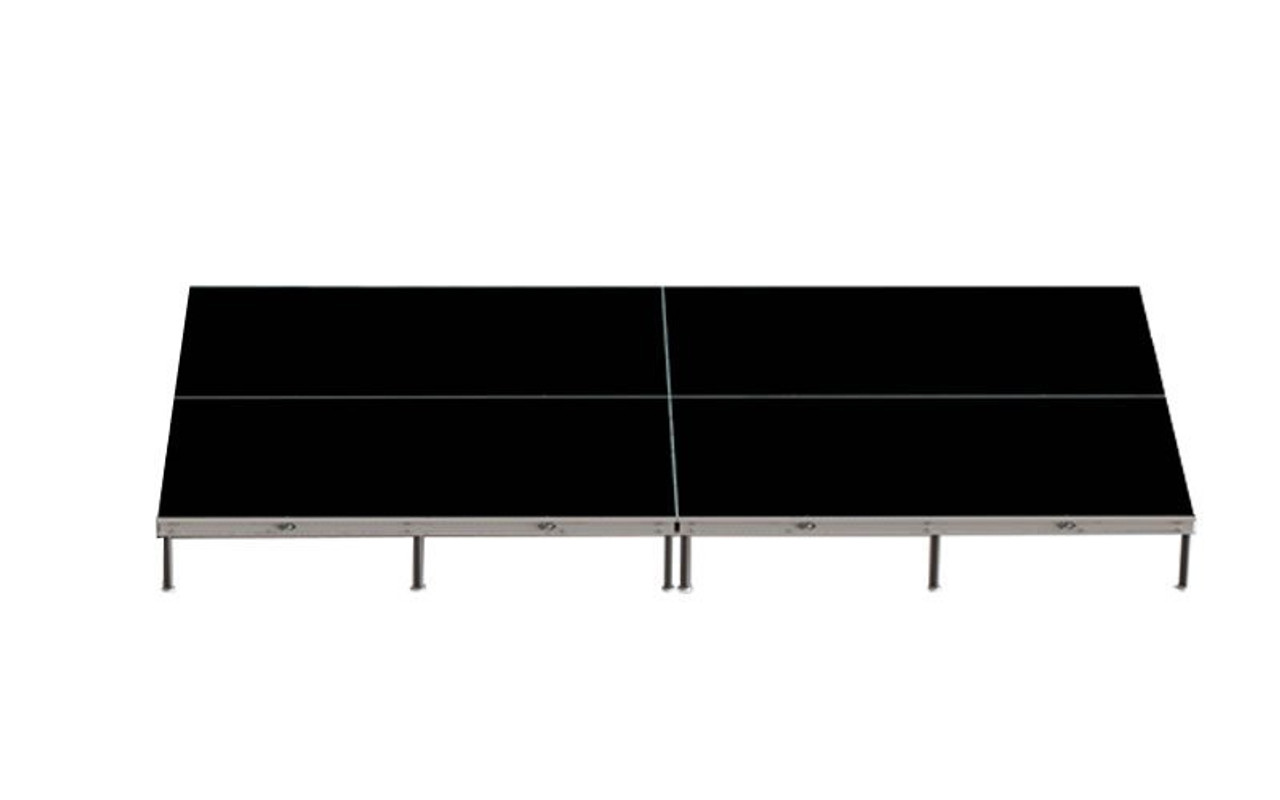 Top Rated Quik Stage 8' x 16' High Portable Stage Package with Black Polyvinyl Non-Skid Surface. Additional Heights and Surfaces Available - Front view Drawing