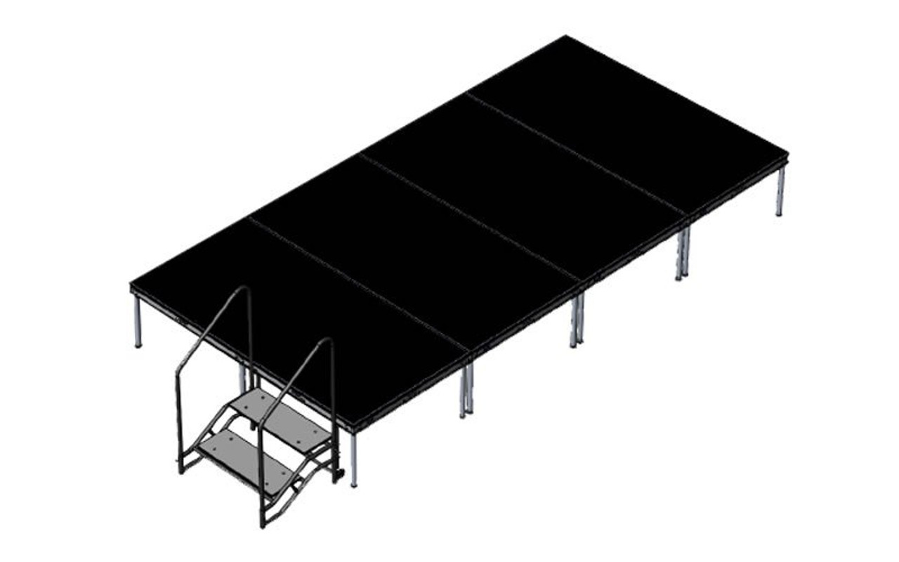 Top Rated Quik Stage 8' x 16' High Portable Stage Package with Black Polyvinyl Non-Skid Surface. Additional Heights and Surfaces Available - Front Angle view with Stair Unit