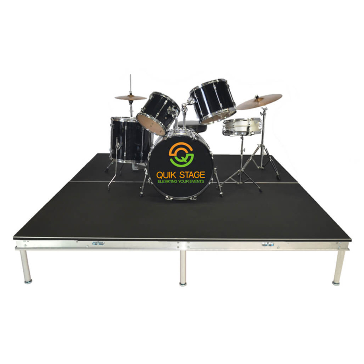 Quik Stage 12' x 16' High Portable Stage Package with Black Polyvinyl Non-Skid Surface. Additional Heights and Surfaces Available - Drum Riser without skirting