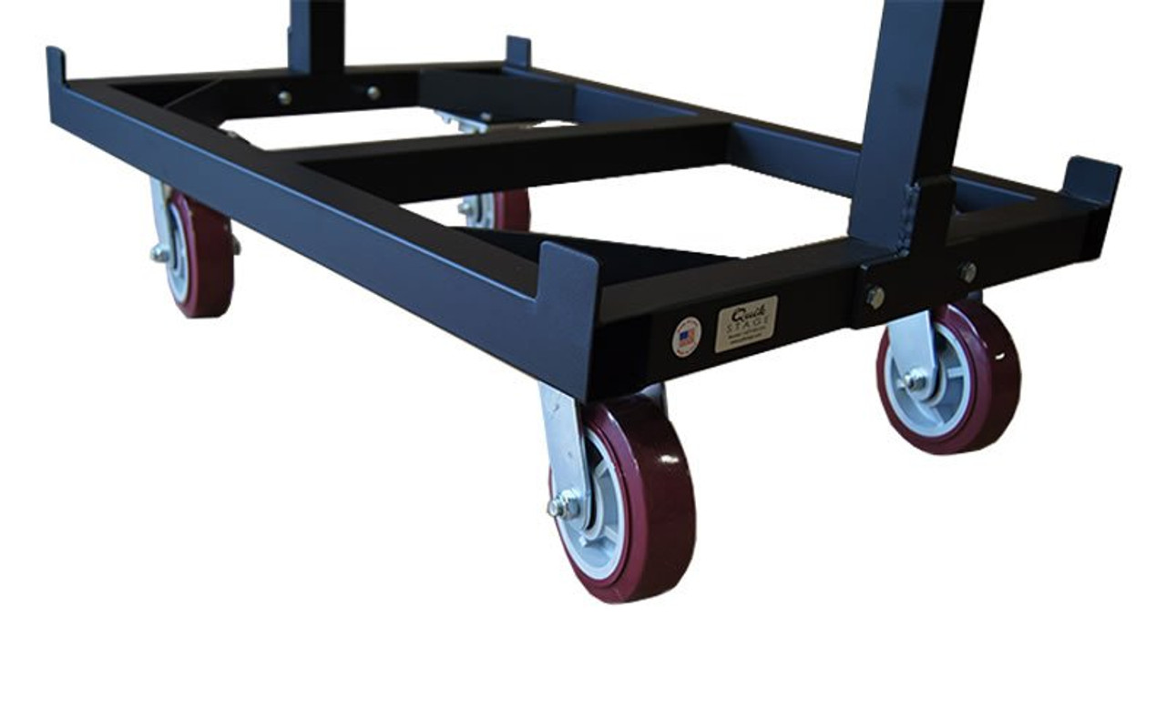Closeup of base of  our best selling Quik Stage 6-Deck Portable Stage Vertical Storage Cart for 4 x 4 Stage Decks