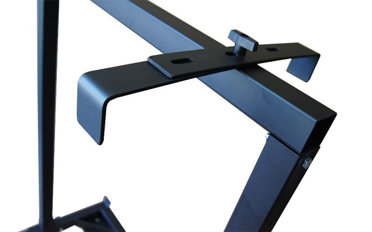 Closeup of retention bracket on our best selling Quik Stage 6-Deck Portable Stage Vertical Storage Cart for 4 x 4 Stage Decks