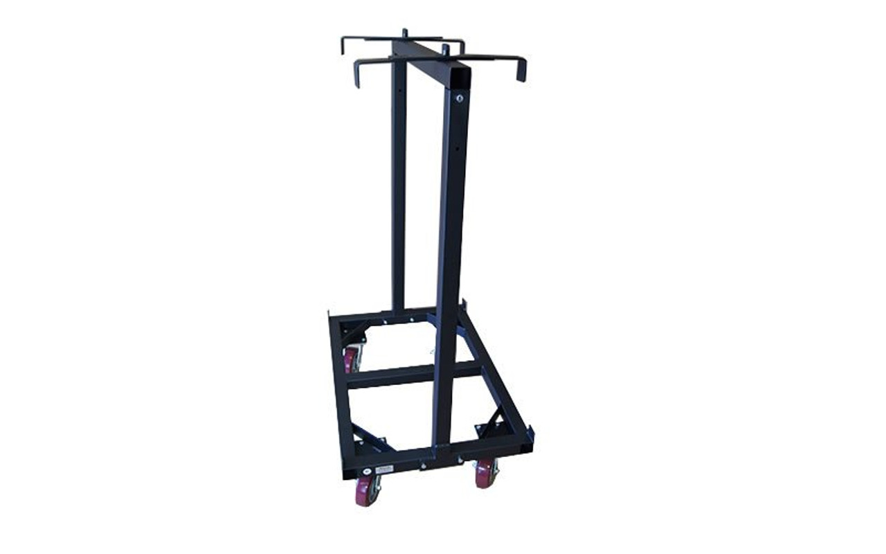 Slightly angled view with top brackets deployed on our best selling Quik Stage 6-Deck Portable Stage Vertical Storage Cart for 4 x 4 Stage Decks