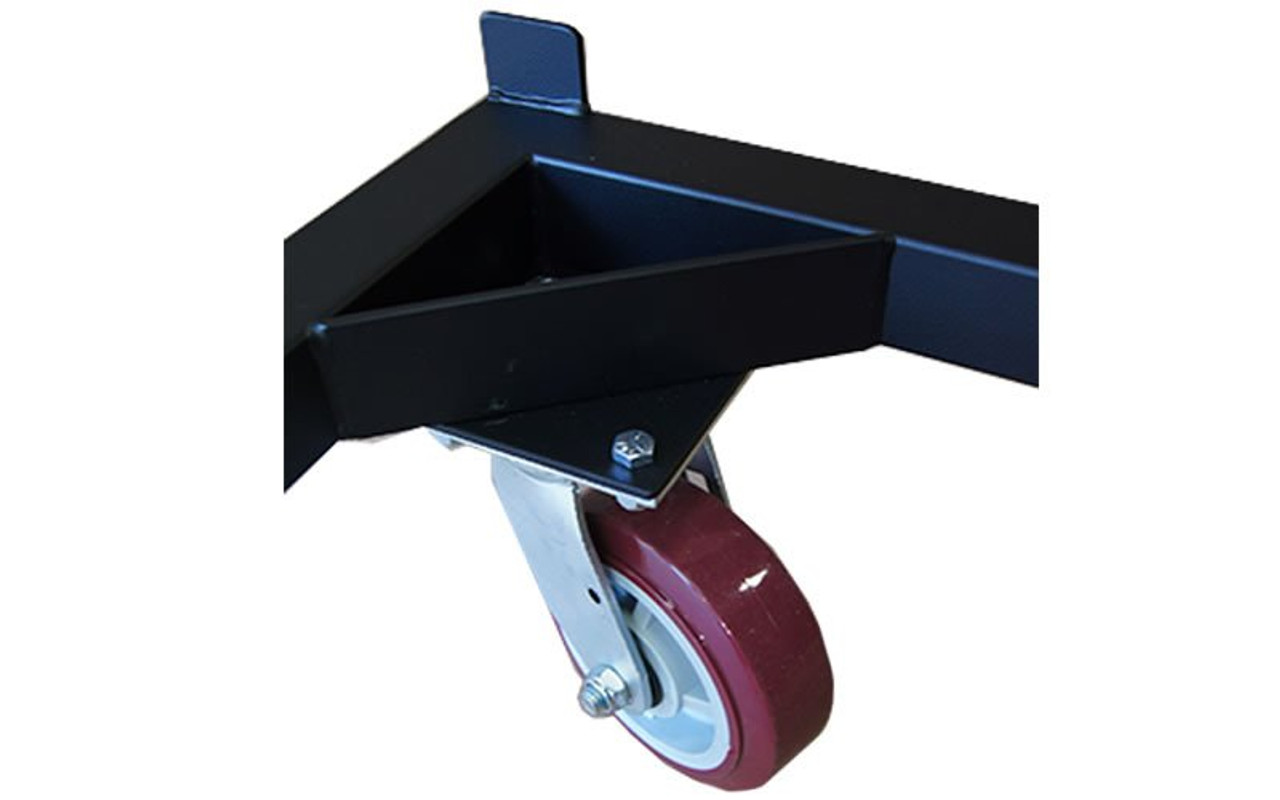 Non-locking caster wheel on our best selling Quik Stage 6-Deck Portable Stage Vertical Storage Cart for 4 x 4 Stage Decks