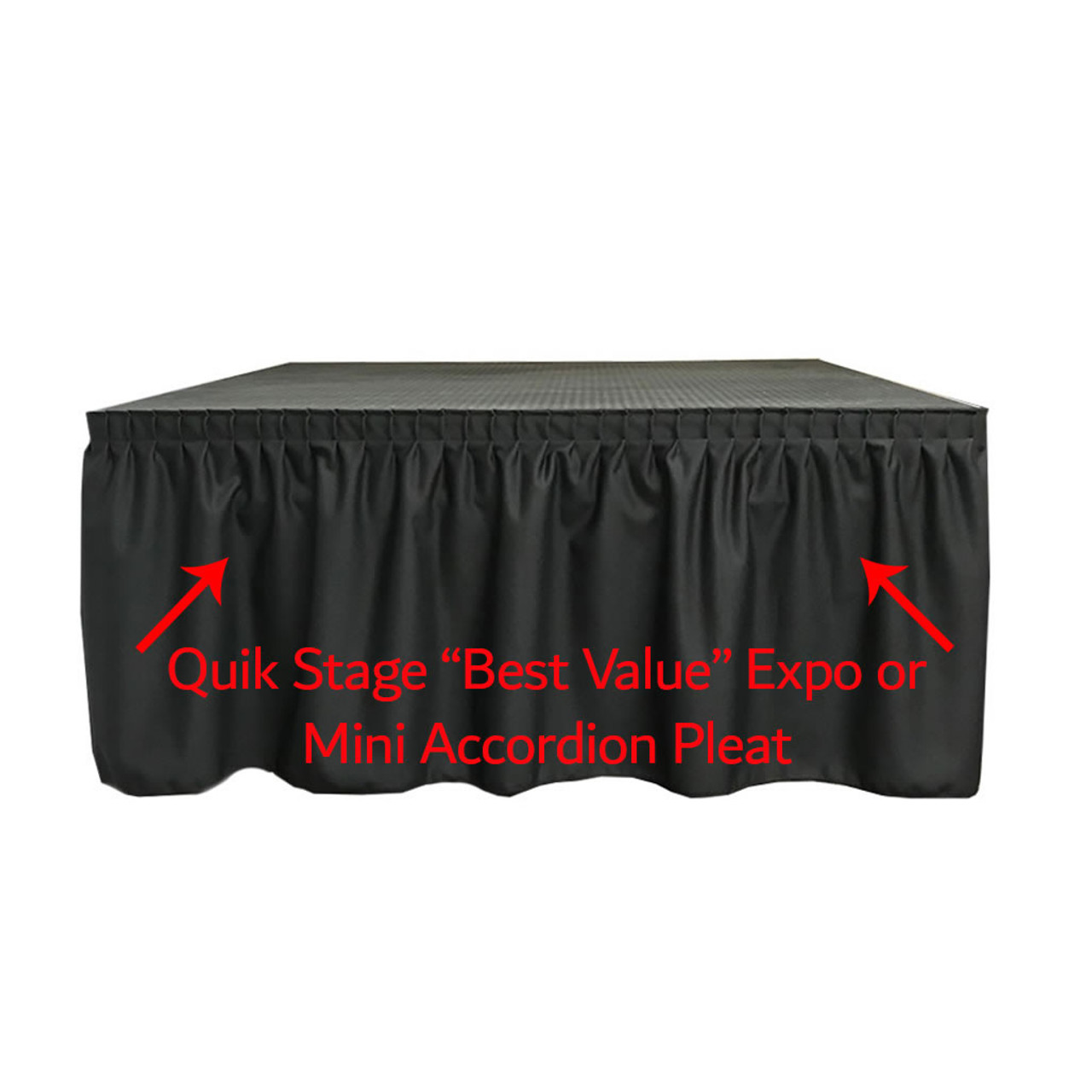 24 Inches High Best Value Black Expo Pleat Polyester Stage Skirting with Velcro. FR Rated. - Expo/Mini-Accordion Pleat skirting on stage.
