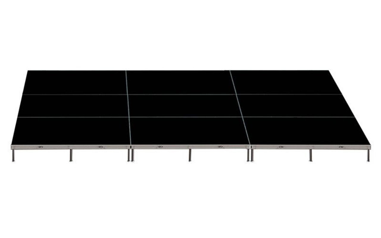 Top Rated Quik Stage 12' x 24' High Portable Stage Package with Black Polyvinyl Non-Skid Surface. Additional Heights and Surfaces Available - Front view