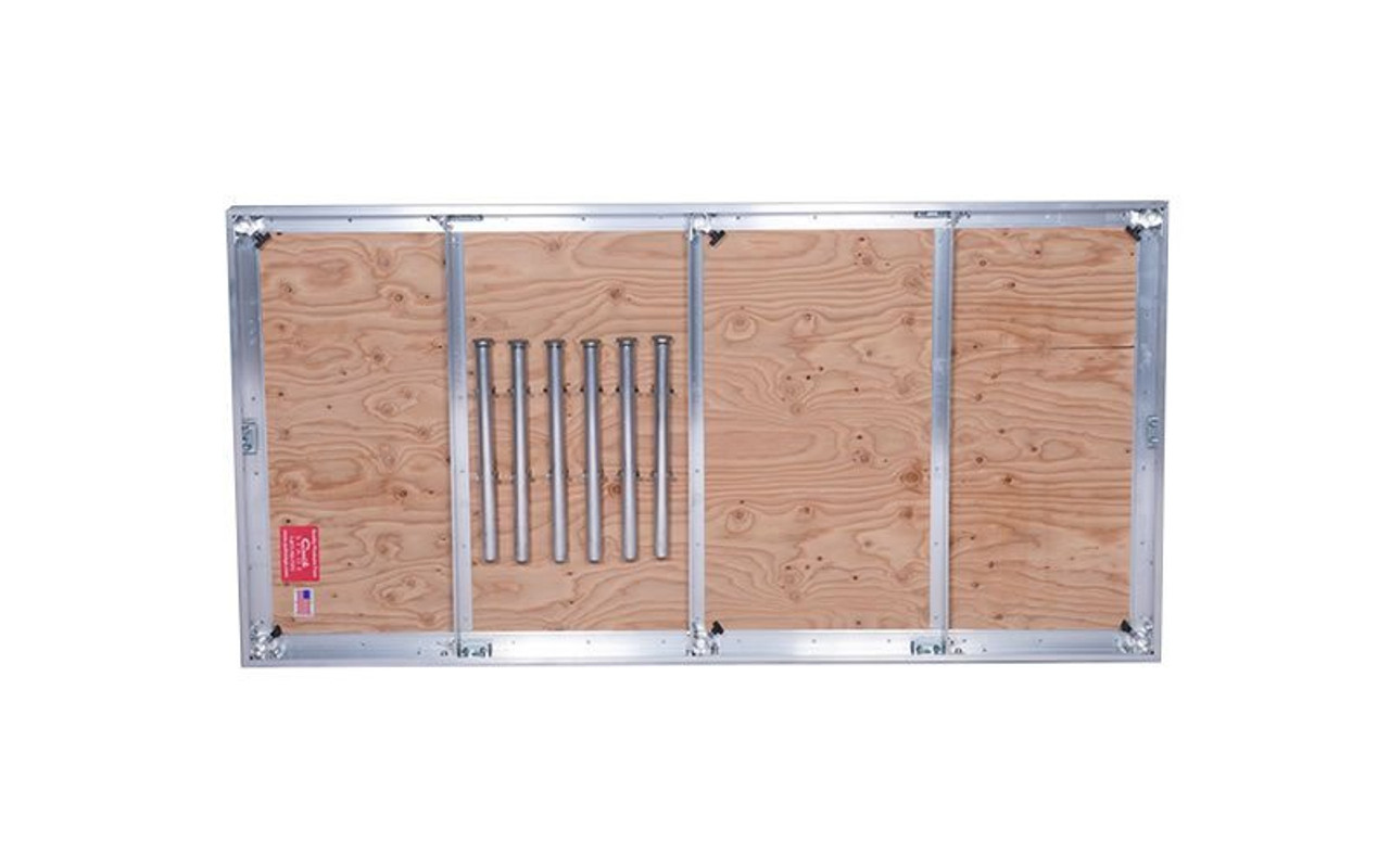 Quik Stage 12' x 24' High Portable Stage Package with Black Polyvinyl Non-Skid Surface. Additional Heights and Surfaces Available - Stage legs shown in leg storage clips
