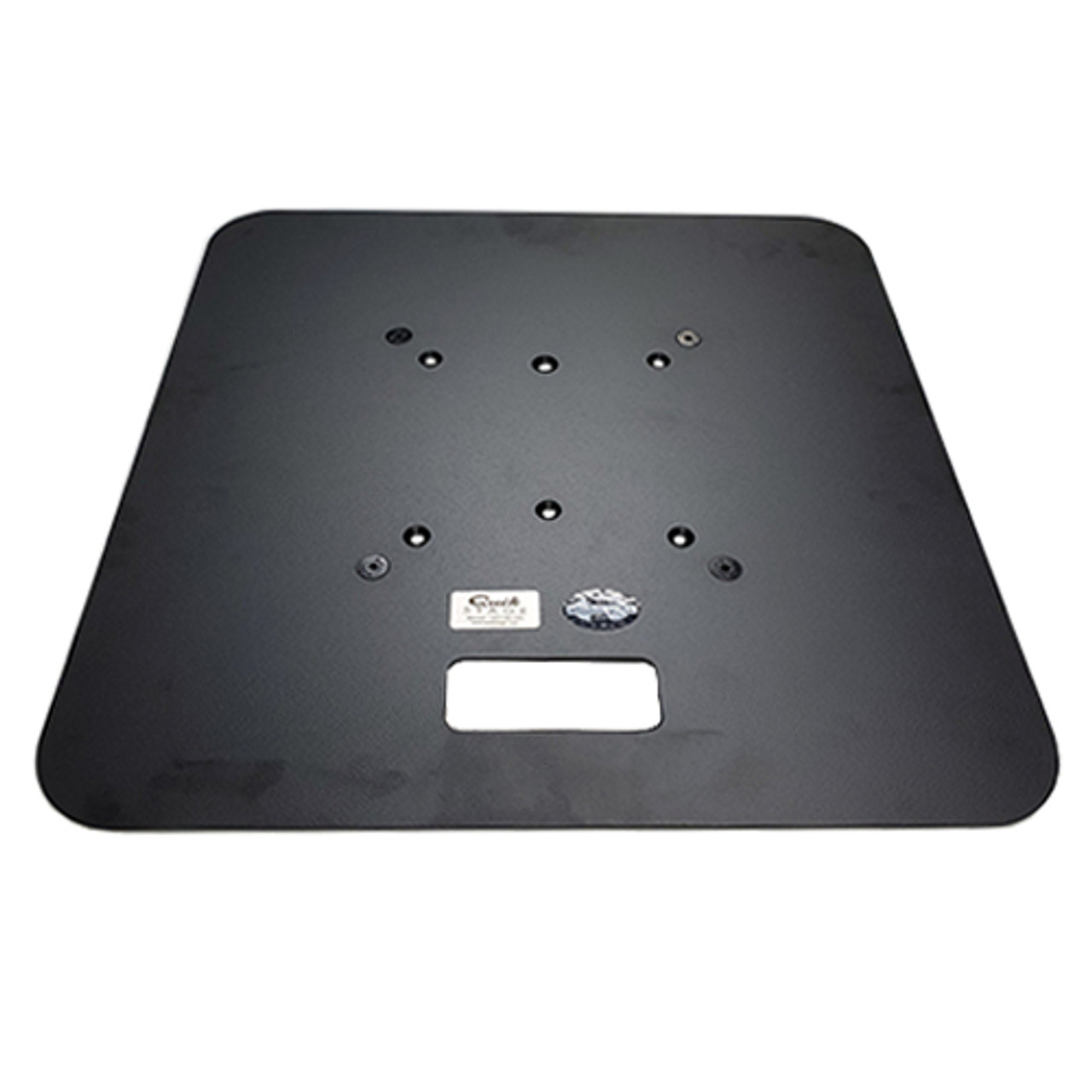 "Top selling 24"" x 24"" Best Value Black Steel Truss Base Plate. Fits Global Truss F23 F24 F33 F34 and Others. Shipping included! Angled Top view."