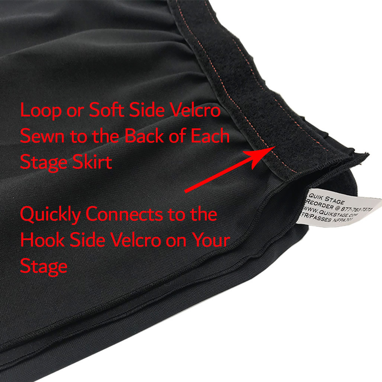 16 Inches High Best Value Black Expo Pleat Polyester Stage Skirting with Velcro. FR Rated. - Loop Velcro sewn on back.