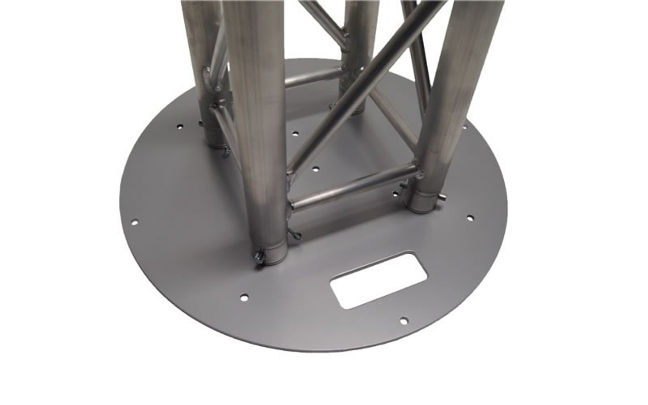 "Best Value 24"" Round Silver Steel Truss Base Plate. Fits Global Truss F23 F24 F33 F34 F44 and Others. With Truss attached."
