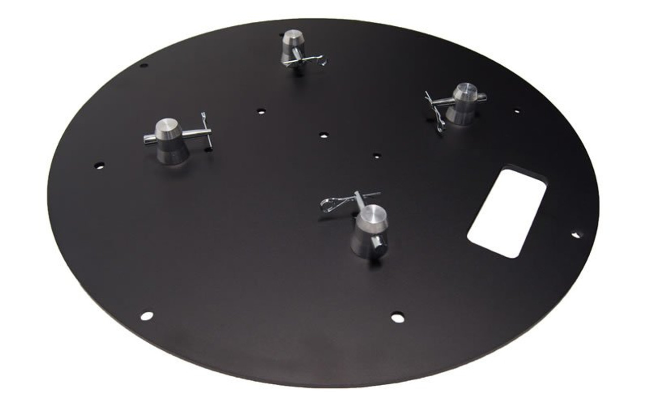"Top Value 24"" Round Black Steel Truss Base Plate. Fits Global Truss F23 F24 F33 F34 F44 and Others. Angled right view."