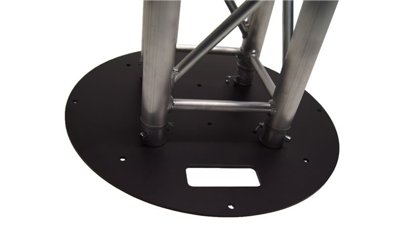 "Top seller 24"" Round Black Steel Truss Base Plate. Fits Global Truss F23 F24 F33 F34 F44 and Others. With truss attached."