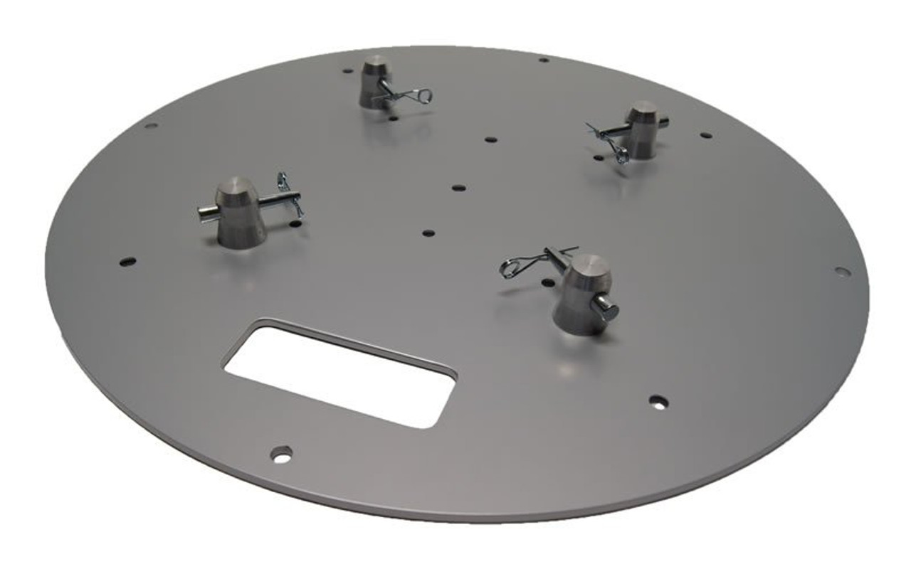 "Top selling 24"" Round Silver Steel Truss Base Plate. Fits Global Truss F23 F24 F33 F34 F44 and Others. Angled left view."