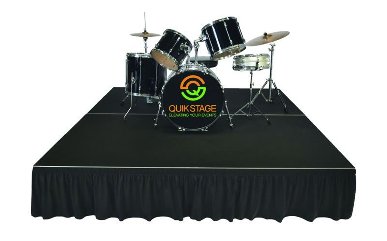 Top reviewed Quik Stage 8' x 8' High Portable Stage Package with Black Polyvinyl Non-Skid Surface. Additional Heights and Surfaces Available - Drum Riser with skirting