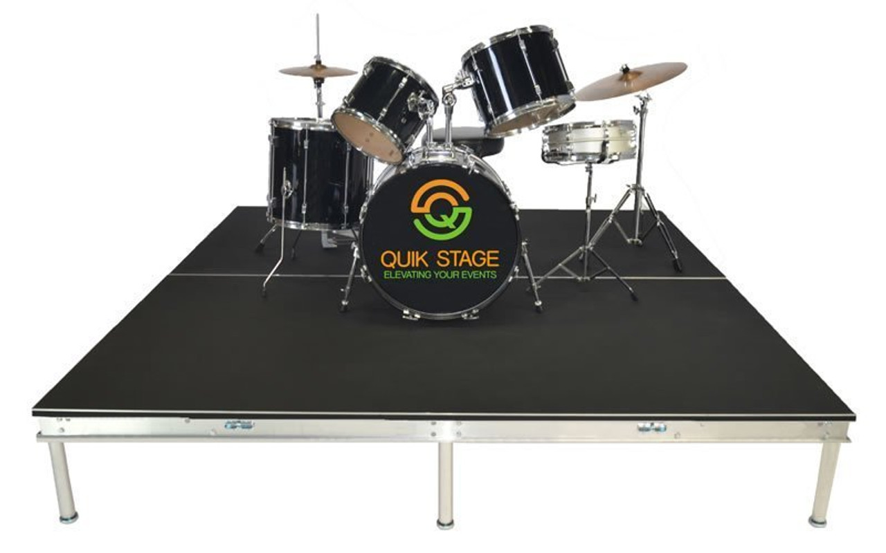 Quik Stage 8' x 8' High Portable Stage Package with Black Polyvinyl Non-Skid Surface. Additional Heights and Surfaces Available - Drum Riser without skirting
