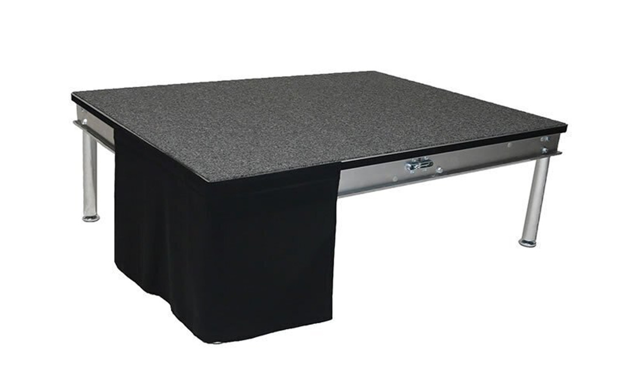 32 Inch High Flat No Pleat Black Polyester Top Rated Stage Skirting with Velcro. FR Rated. - Flat, no pleat, stage skirting.