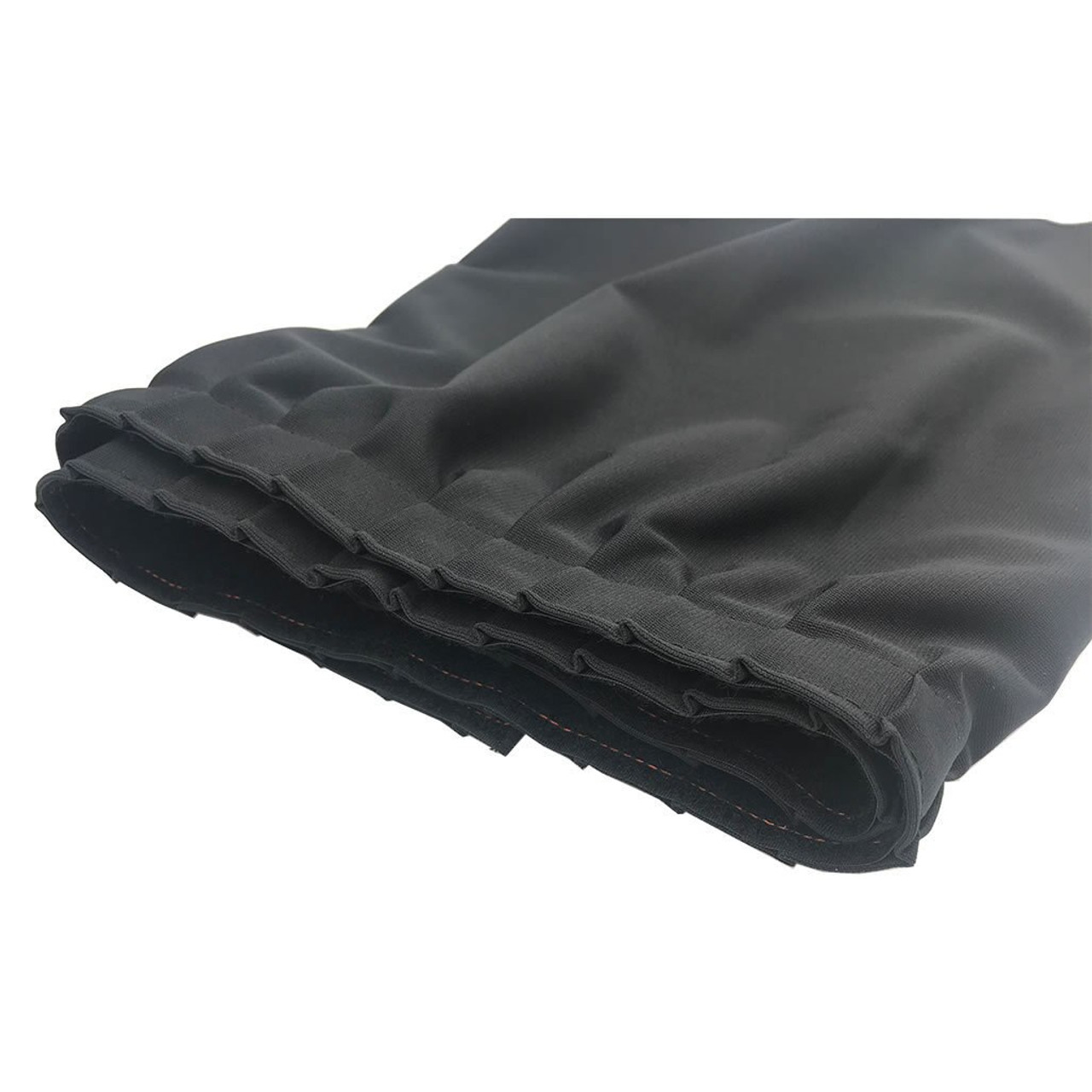 8 Inches High Best Value Black Expo Pleat Polyester Stage Skirting with Velcro. FR Rated. - Close up of Expo/Mini-Accordion Pleat.
