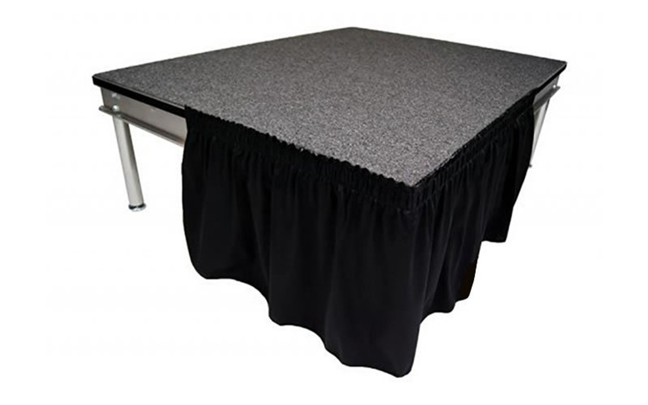 """Top rated 16"""" High Black Shirred Pleat Wyndham Flame Retardant Polyester Stage Skirting with the Loop Side Fastener.  - Attached easily via the Velcro on back of the skirting."""