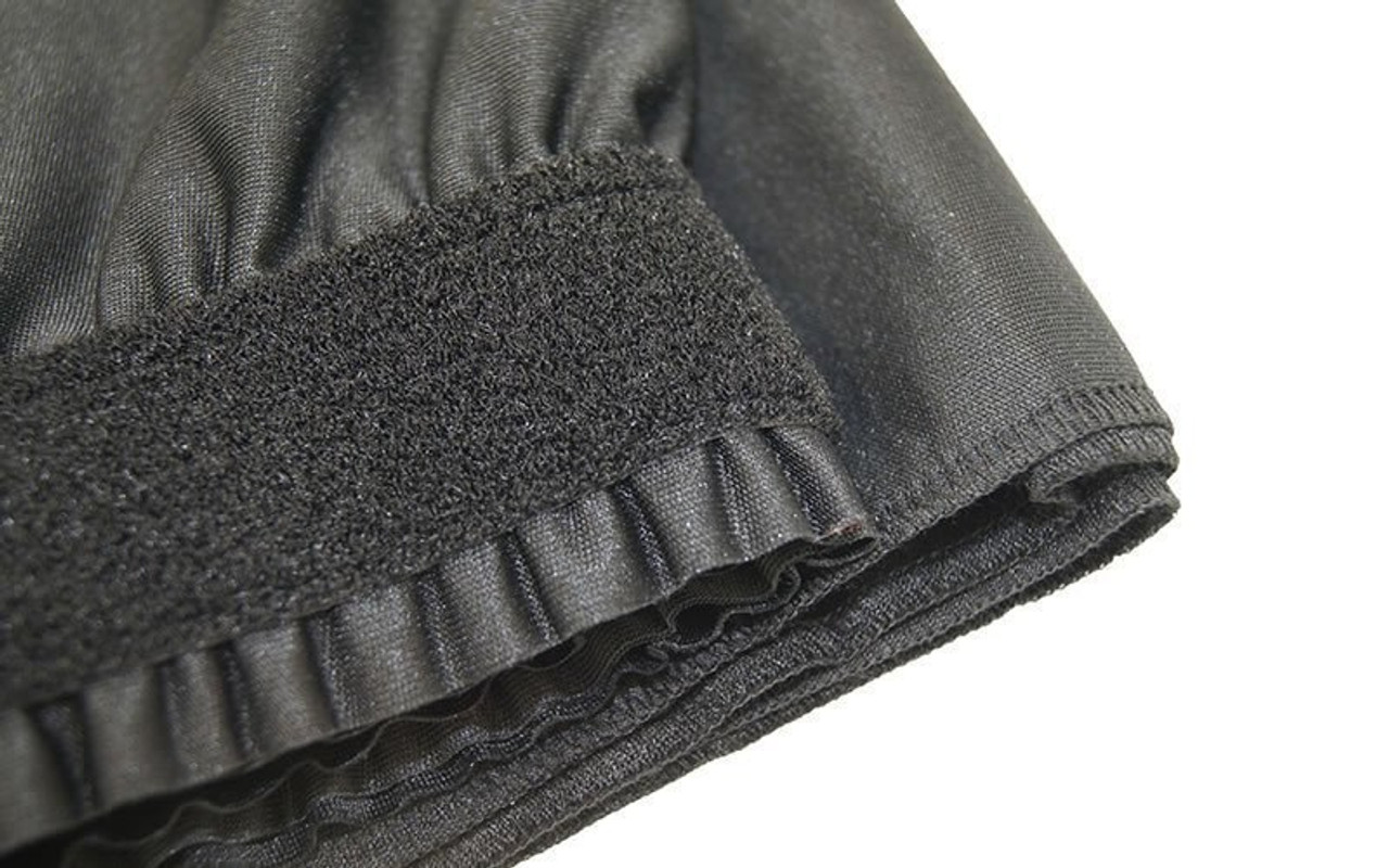 """Top rated 16"""" High Black Shirred Pleat Wyndham Flame Retardant Polyester Stage Skirting with the Loop Side Fastener.  -  Closer view of Loop side Velcro sewn on the back side."""