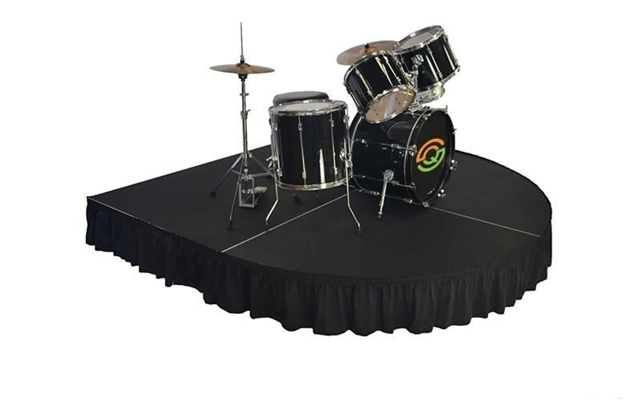 """Top rated 24"""" High Black Shirred Pleat Wyndham Flame Retardant Polyester Stage Skirting with the Loop Side Fastener.  - Attached to a rounded front drum riser."""