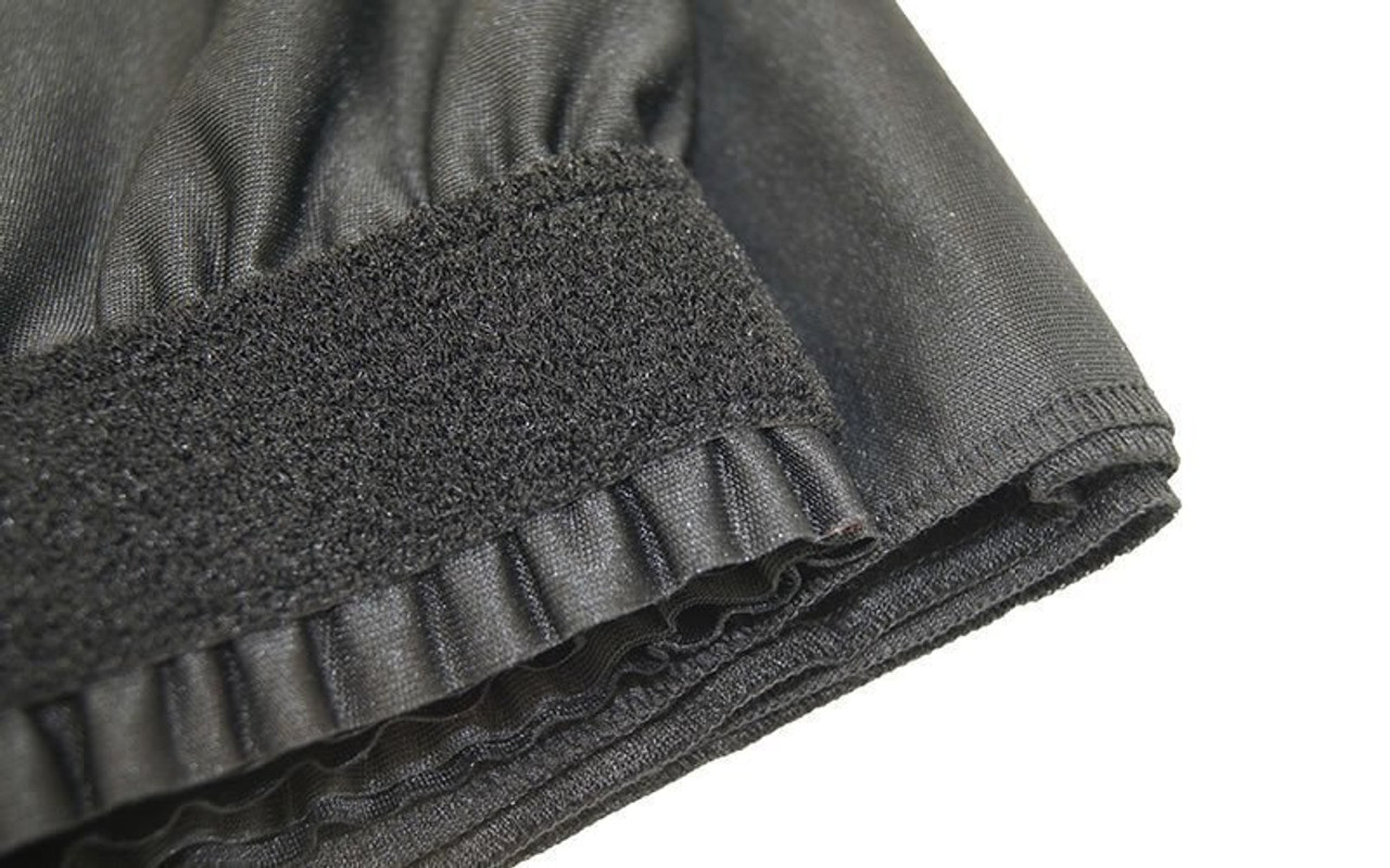 "Top rated 40"" High Black Shirred Pleat Wyndham Flame Retardant Polyester Stage Skirting with the Loop Side Fastener.  -  Closer view of Loop side Velcro sewn on the back side."