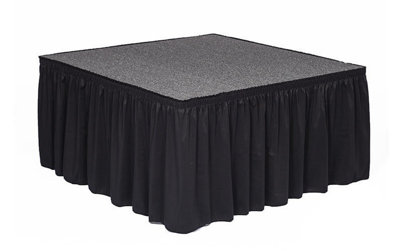 "Top rated 8"" High Black Shirred Pleat Wyndham Flame Retardant Polyester Stage Skirting with the Loop Side Fastener - Attached to a square stage."