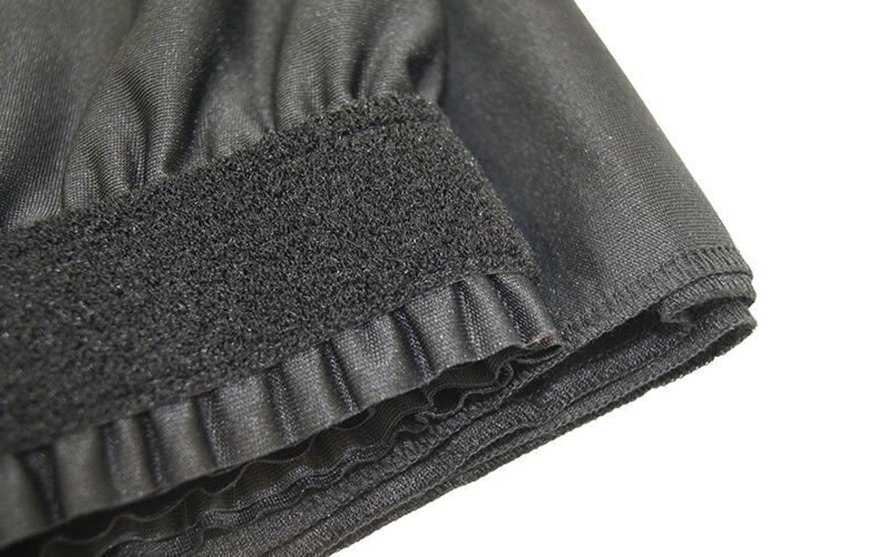 "Top rated 8"" High Black Shirred Pleat Wyndham Flame Retardant Polyester Stage Skirting with the Loop Side Fastener -  Closer view of Loop side Velcro sewn on the back side."