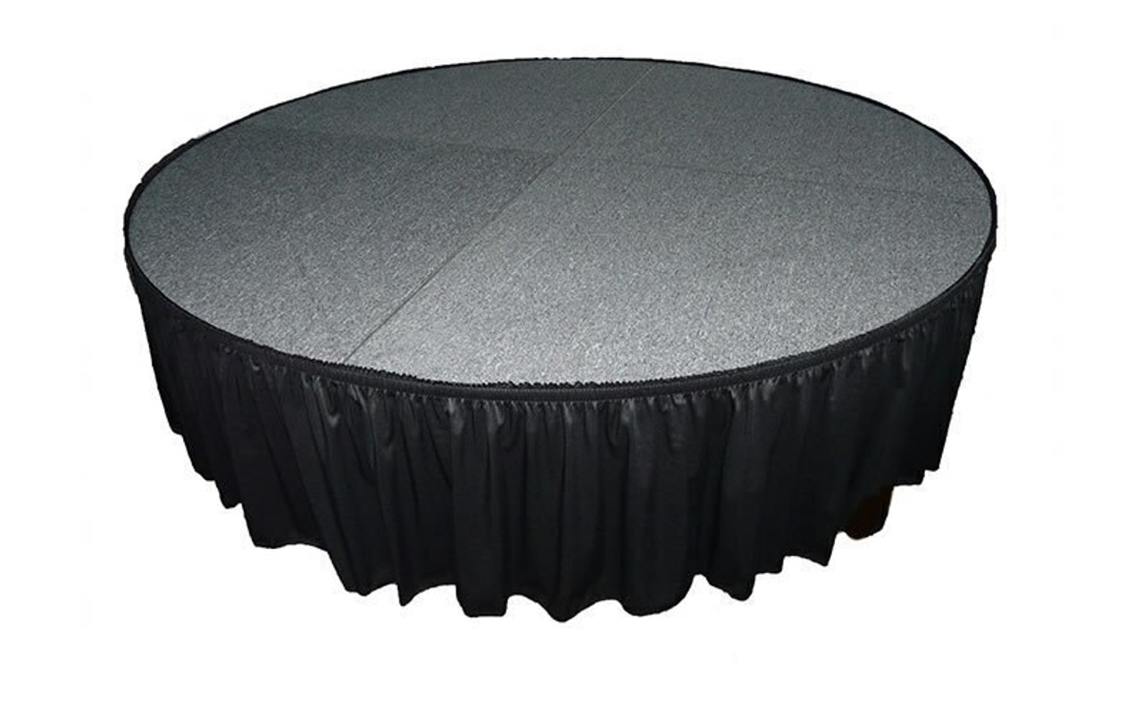 "Top rated 8"" High Black Shirred Pleat Wyndham Flame Retardant Polyester Stage Skirting with the Loop Side Fastener - Attached to a round stage."