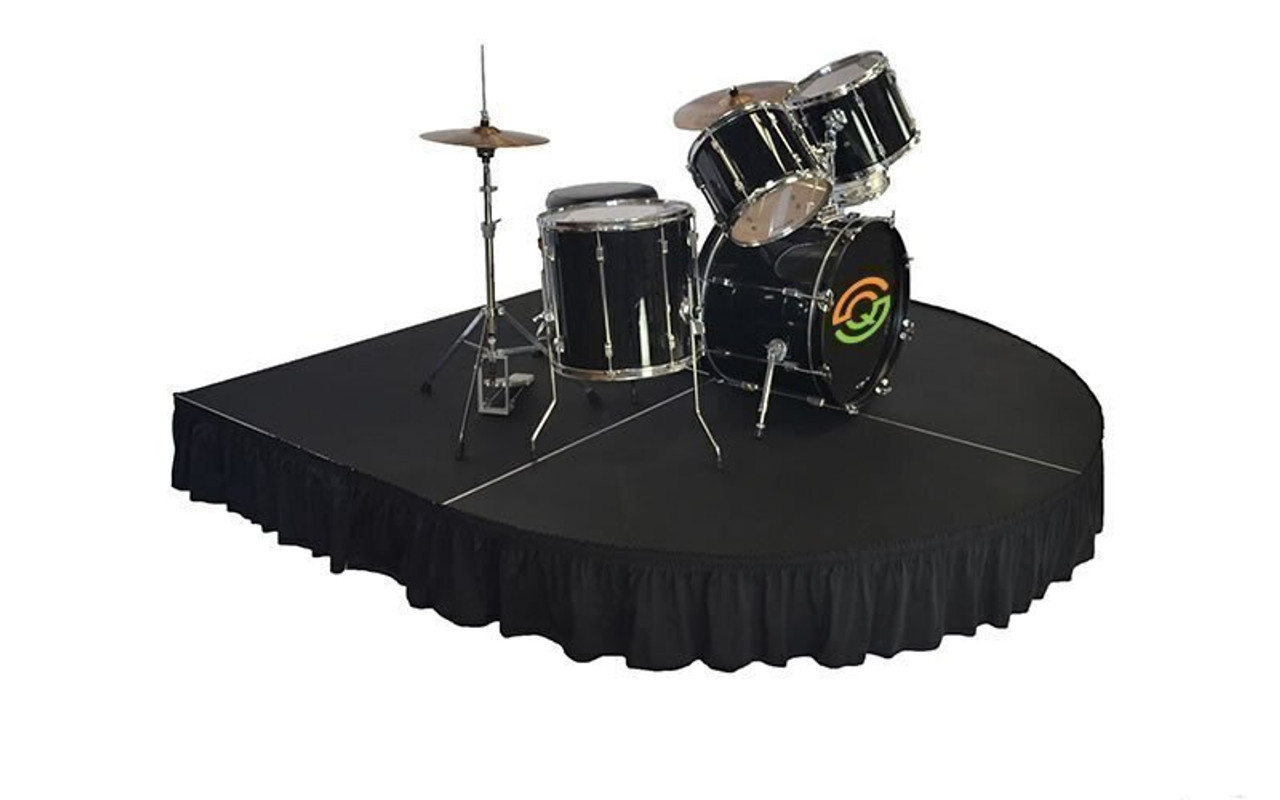 "Top rated 8"" High Black Shirred Pleat Wyndham Flame Retardant Polyester Stage Skirting with the Loop Side Fastener - Attached to a rounded front drum riser."