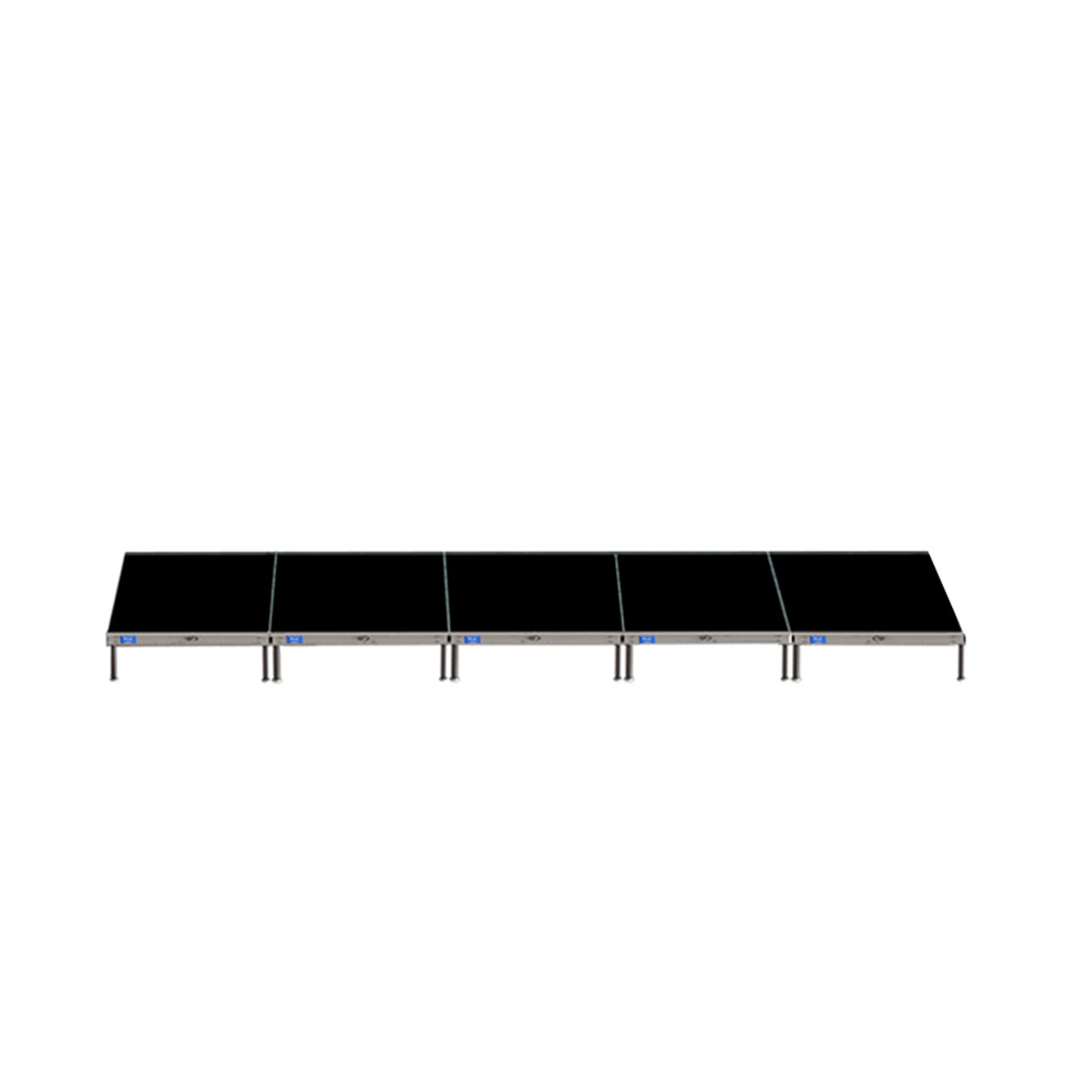 Top Rated Quik Stage 4' x 20' High Portable Stage Package with Black Polyvinyl Non-Skid Surface. Additional Heights and Surfaces Available - Front view