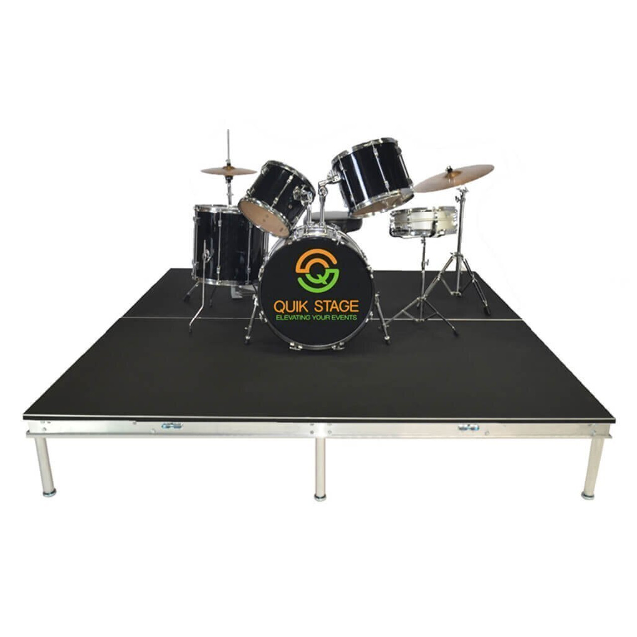 Quik Stage 4' x 28' High Portable Stage Package with Black Polyvinyl Non-Skid Surface. Additional Heights and Surfaces Available - Drum Riser without skirting
