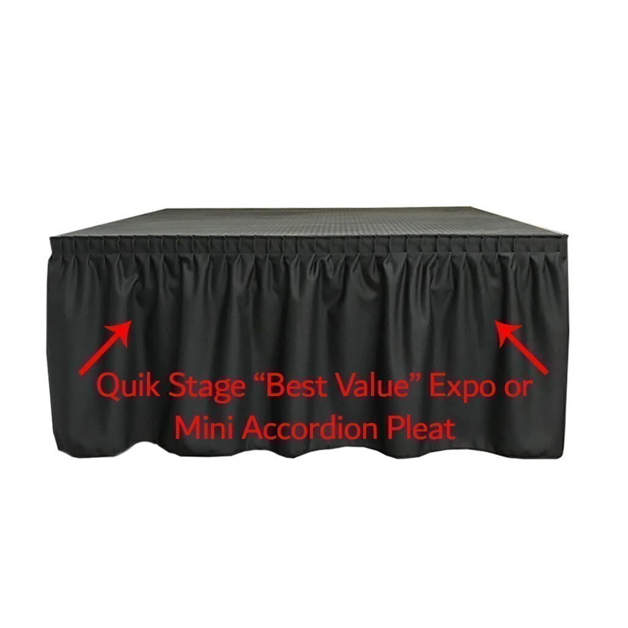 High Quality Quik Stage 4' x 36' High Portable Stage Package with Black Polyvinyl Non-Skid Surface. Additional Heights and Surfaces Available - Best Value Expo Pleat Stage Skirting