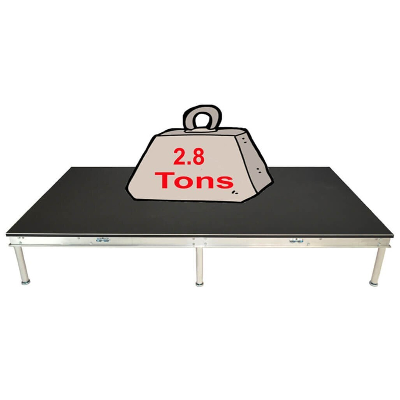 Top rated Quik Stage 8' x 8' High Portable Stage Package with Black Polyvinyl Non-Skid Surface. Additional Heights and Surfaces Available. - Holds 2.8 tons per 4 x 8 or 1.4 tons per 4 x 4 when spread out evenly.