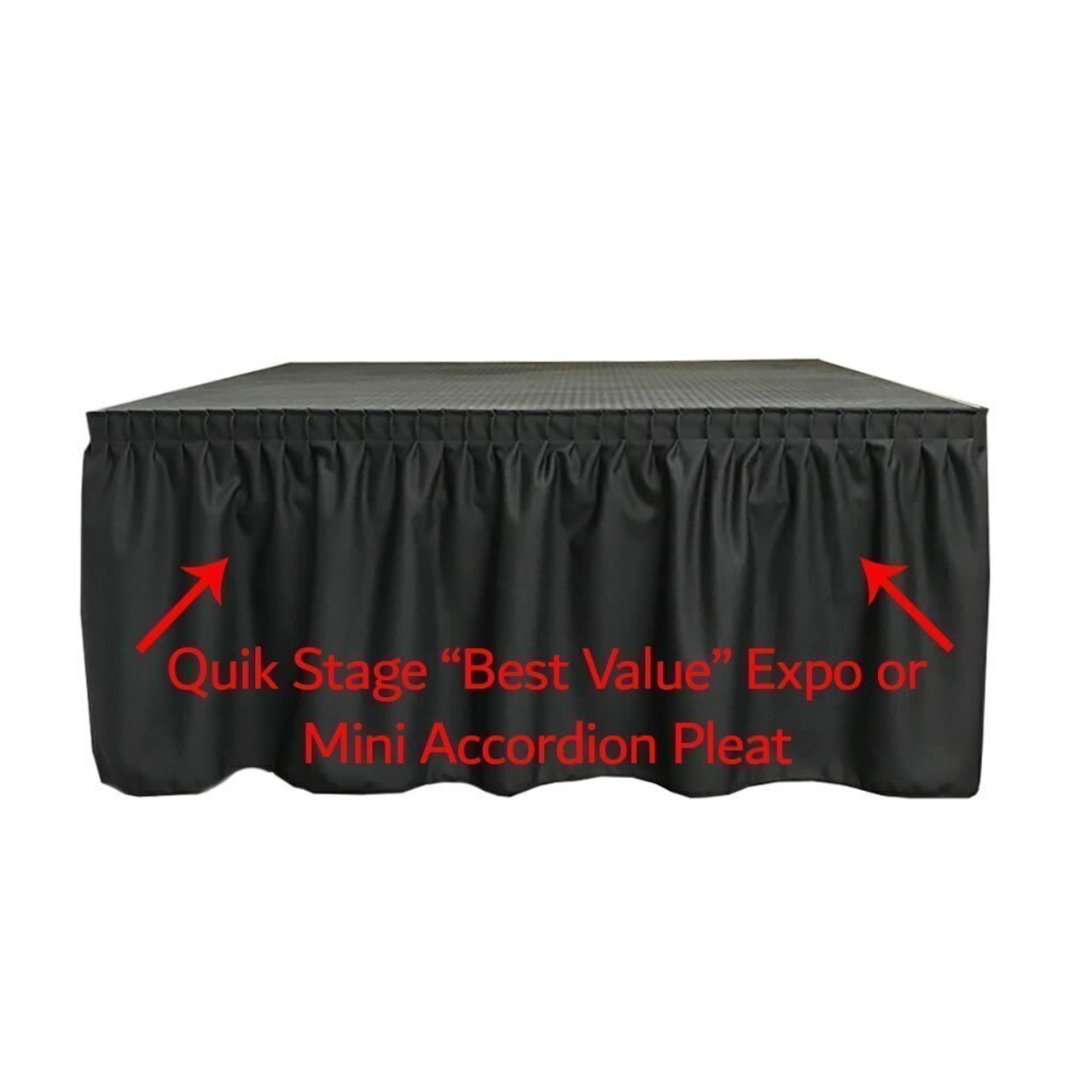High Quality Quik Stage 8' x 12' High Portable Stage Package with Black Polyvinyl Non-Skid Surface. Additional Heights and Surfaces Available - Best Value Expo Pleat Stage Skirting