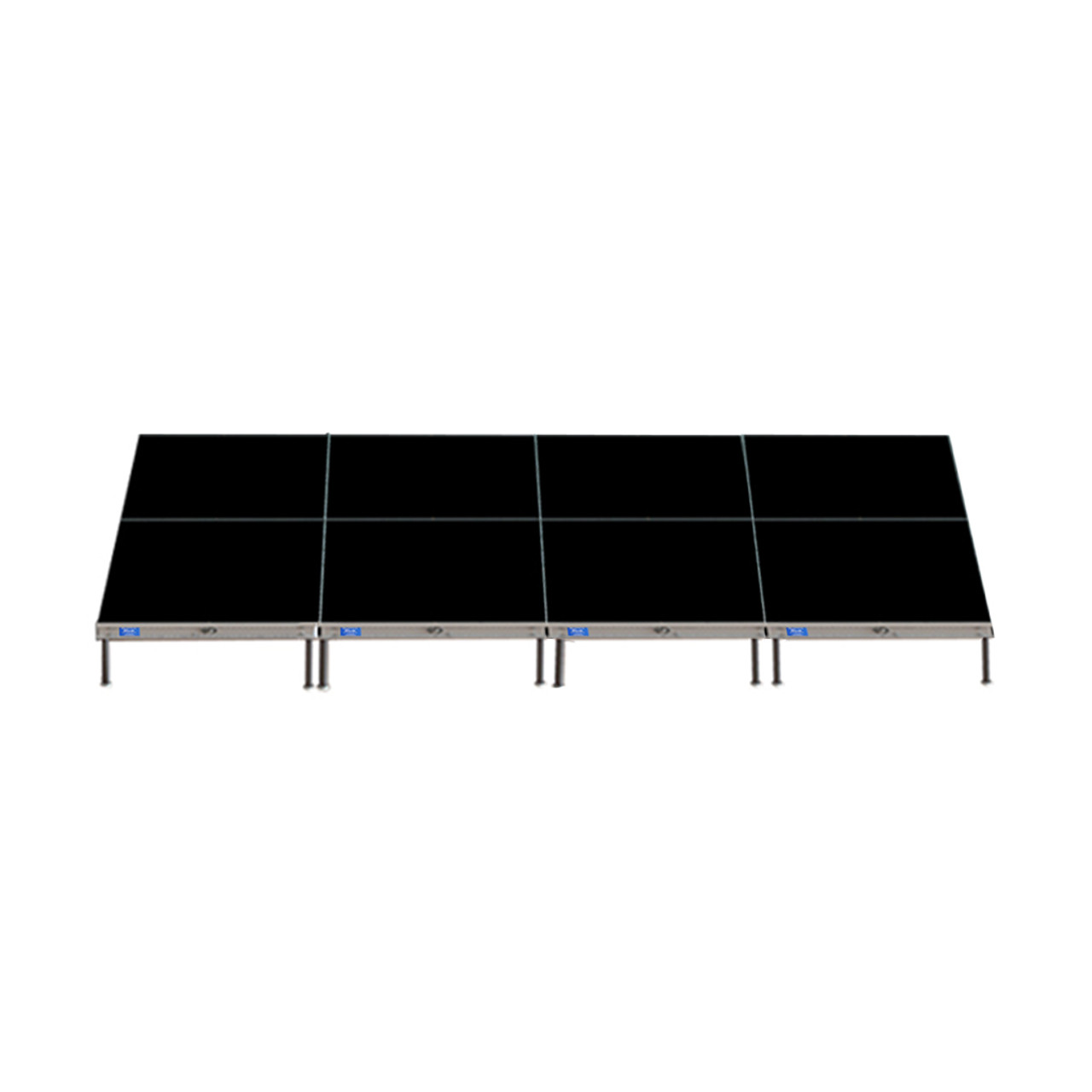 Top Rated Quik Stage 8' x 16' High Portable Stage Package with Black Polyvinyl Non-Skid Surface. Additional Heights and Surfaces Available - Front view