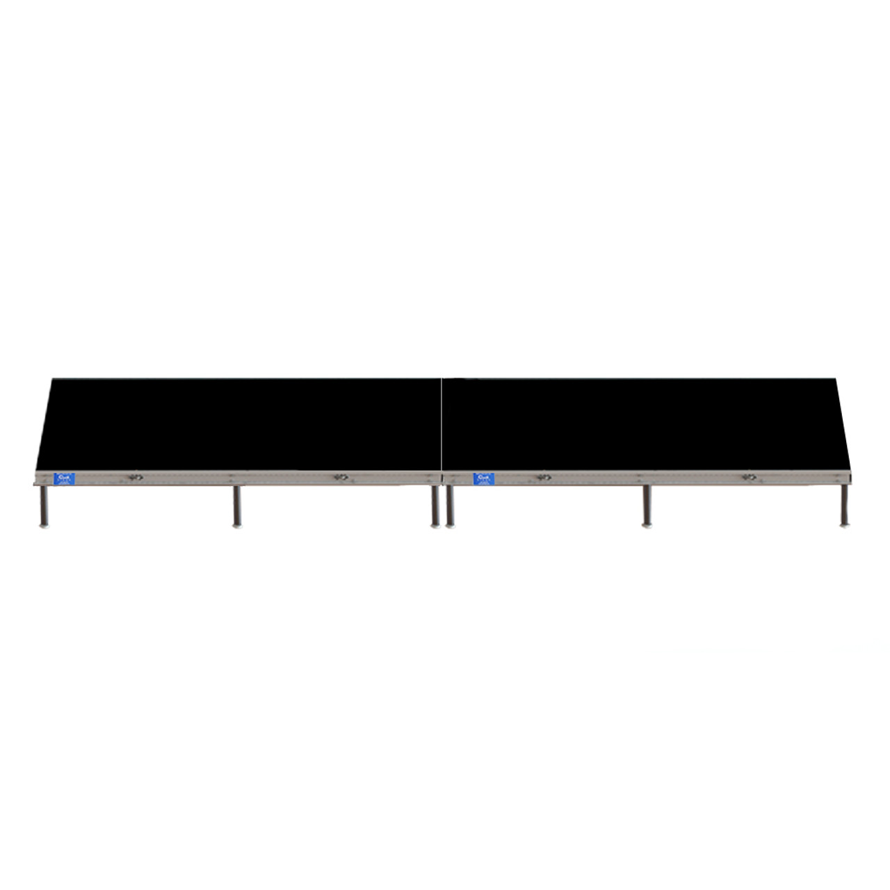 Top Rated Quik Stage 4' x 16' High Portable Stage Package with Black Polyvinyl Non-Skid Surface. Additional Heights and Surfaces Available - Front view