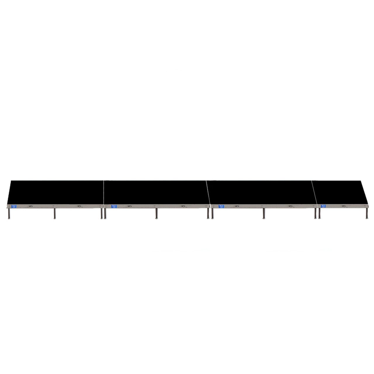 Top Rated Quik Stage 4' x 28' High Portable Stage Package with Black Polyvinyl Non-Skid Surface. Additional Heights and Surfaces Available - Front view