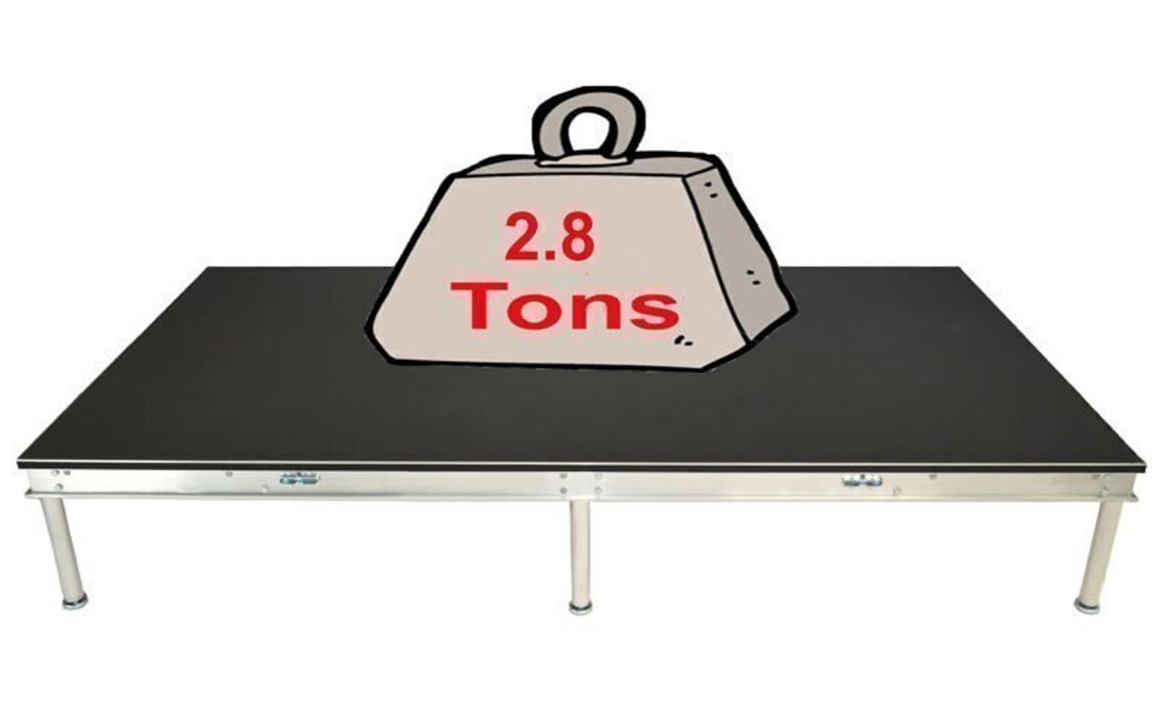 Quik Stage 4' x 28' High Portable Stage Package with Black Polyvinyl Non-Skid Surface. Additional Heights and Surfaces Available - Holds 2.8 tons per 4 x 8 when spread out evenly