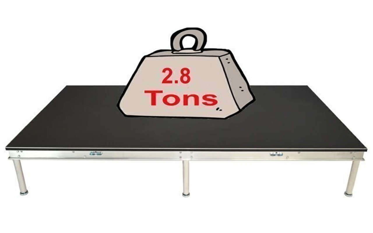Quik Stage 4' x 40' High Portable Stage Package with Black Polyvinyl Non-Skid Surface. Additional Heights and Surfaces Available - Holds 2.8 tons per 4 x 8 when spread out evenly