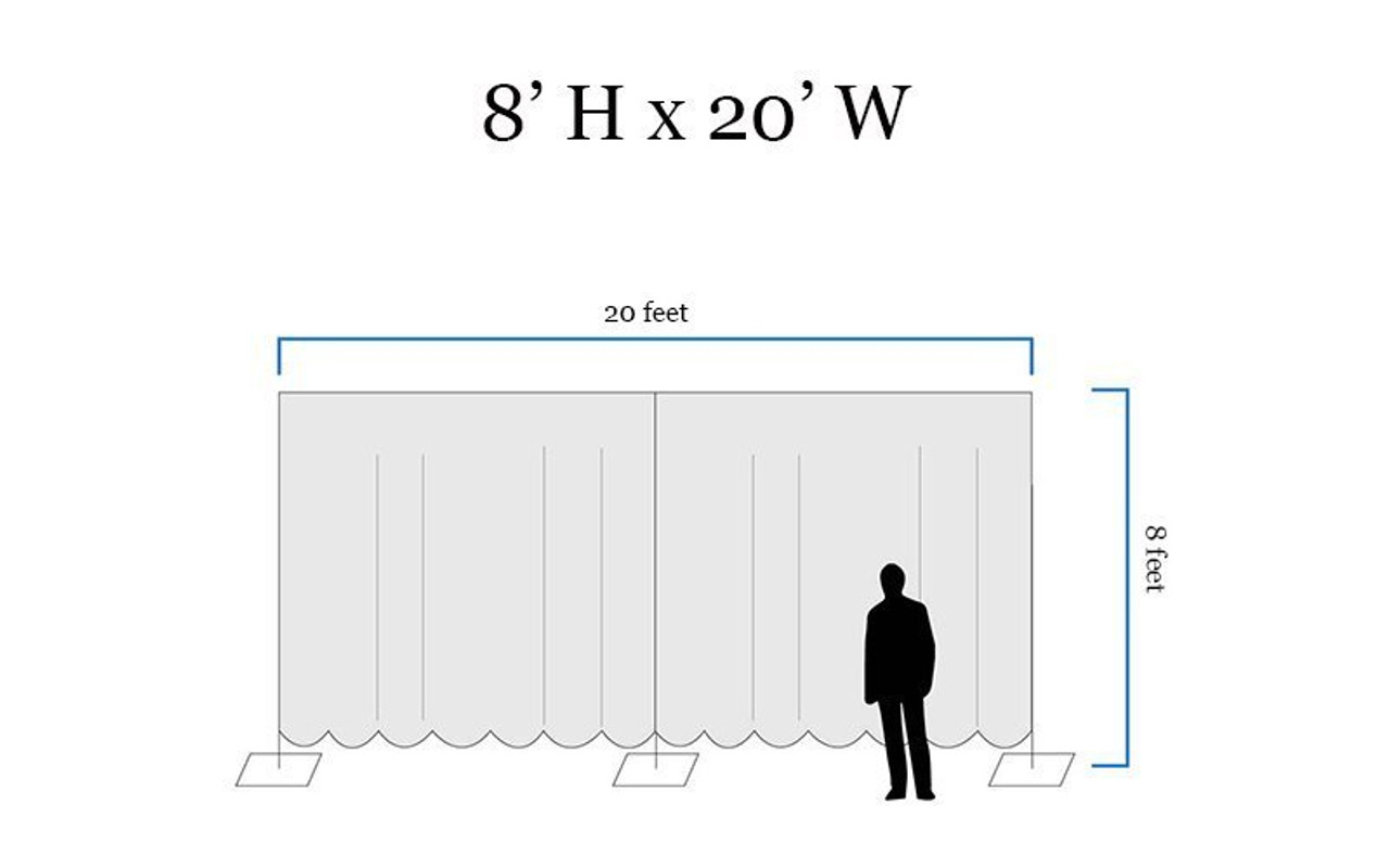 8' High x 20' Wide Pipe and Drape Stage Backdrop Using Two Piece Upright with Black Premier Polyester Drapes- Drawing