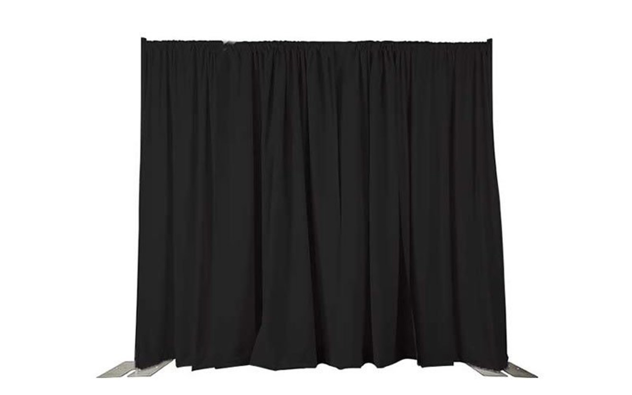 8' High x 10' Wide Pipe and Drape Stage Backdrop Using Two Piece Upright with Black Premier Polyester Drapes