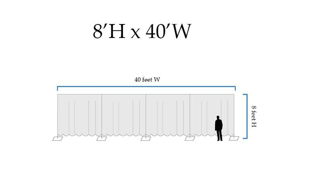 8' High x 40' Wide Pipe and Drape Stage Backdrop Using Two Piece Upright with Black Premier Polyester Drapes- Drawing