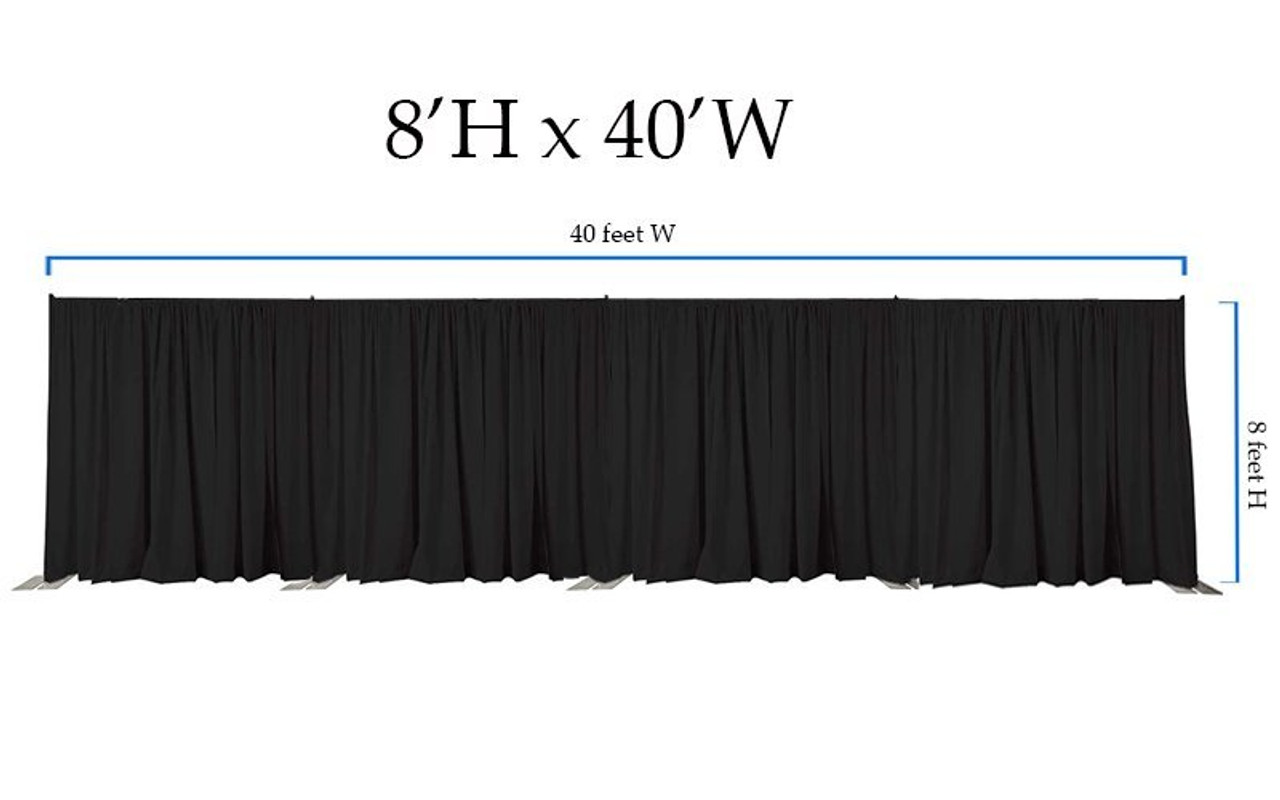 8' High x 40' Wide Pipe and Drape Stage Backdrop Using Two Piece Upright with Black Premier Polyester Drapes