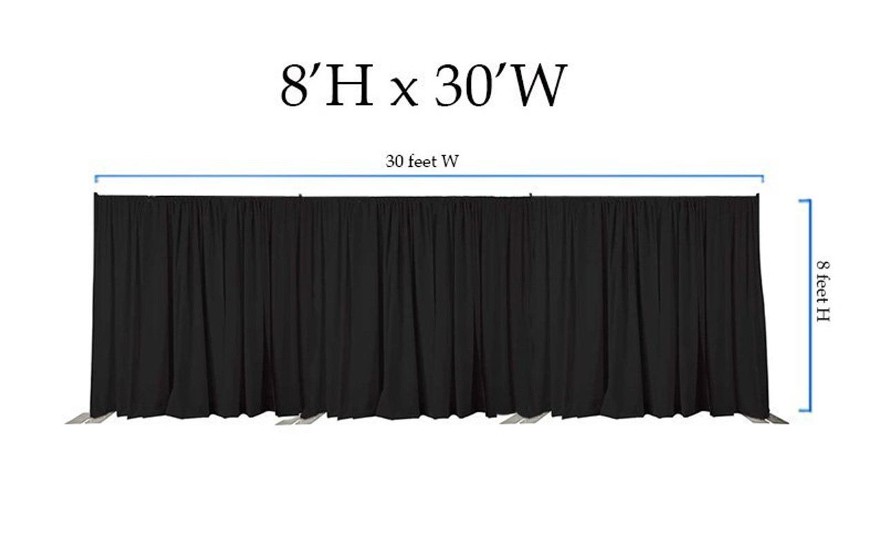 8' High x 30' Wide Pipe and Drape Stage Backdrop Using Two Piece Upright with Black Premier Polyester Drapes