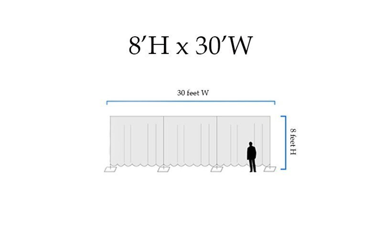 8' High x 30' Wide Pipe and Drape Stage Backdrop Using Two Piece Upright with Black Premier Polyester Drapes- Drawing