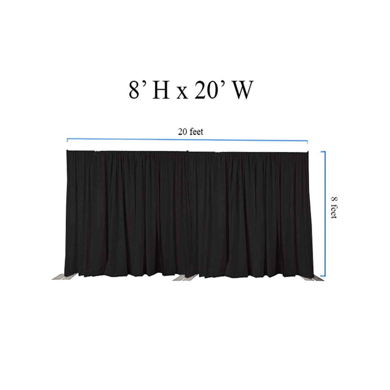 8' High x 20' Wide Pipe and Drape Stage Backdrop Using Two Piece Upright with Black Premier Polyester Drapes