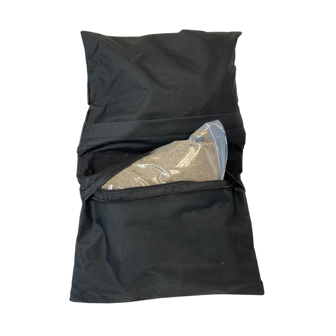 Saddlebag style sandbag is intended to be used anywhere weights are required as additional weight on pipe and drape or truss bases and more- with Plastic bag with sand