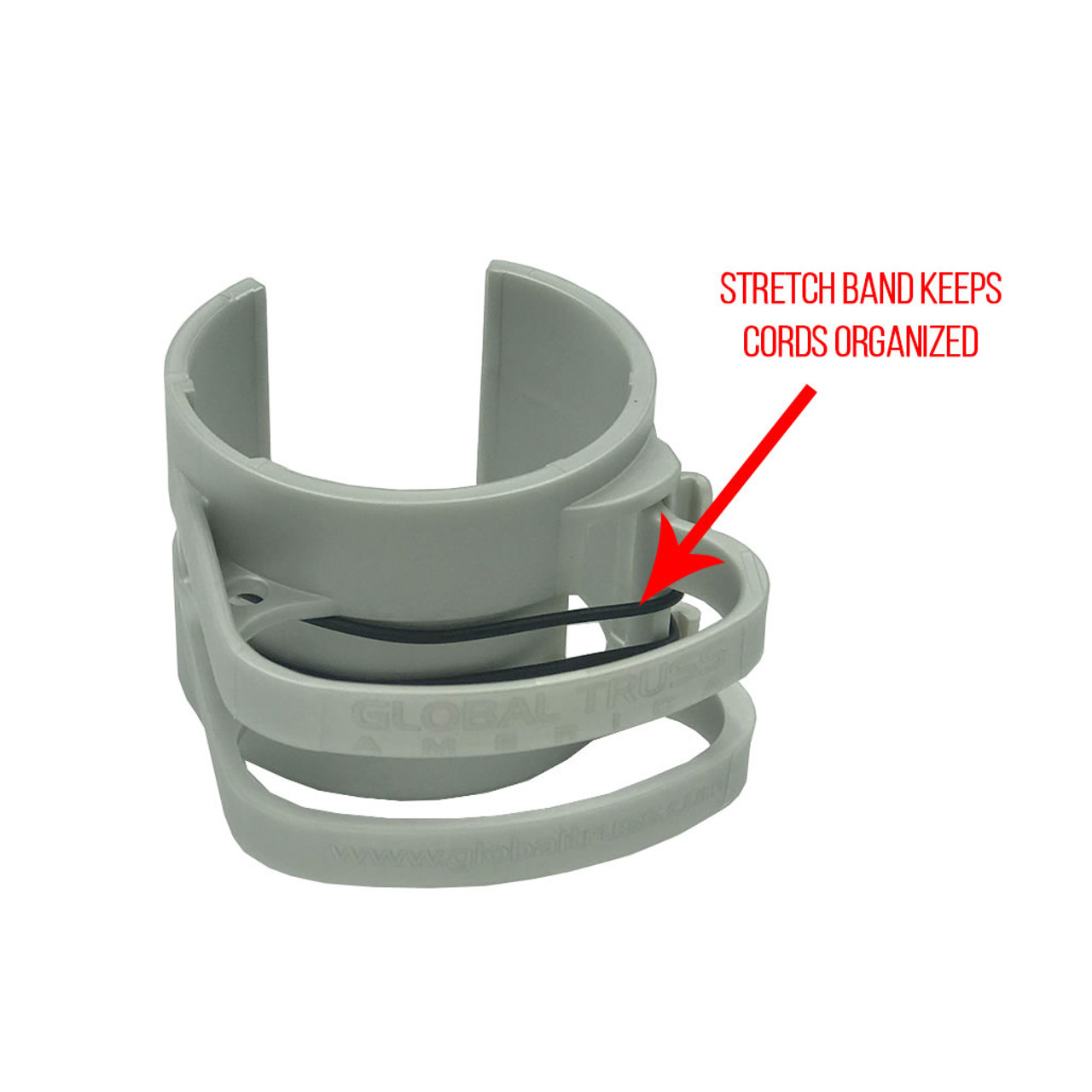 Global Truss DT Snap On Silver Cable Management Clip- Stretch Band Keeps Cords Organized and Contained.