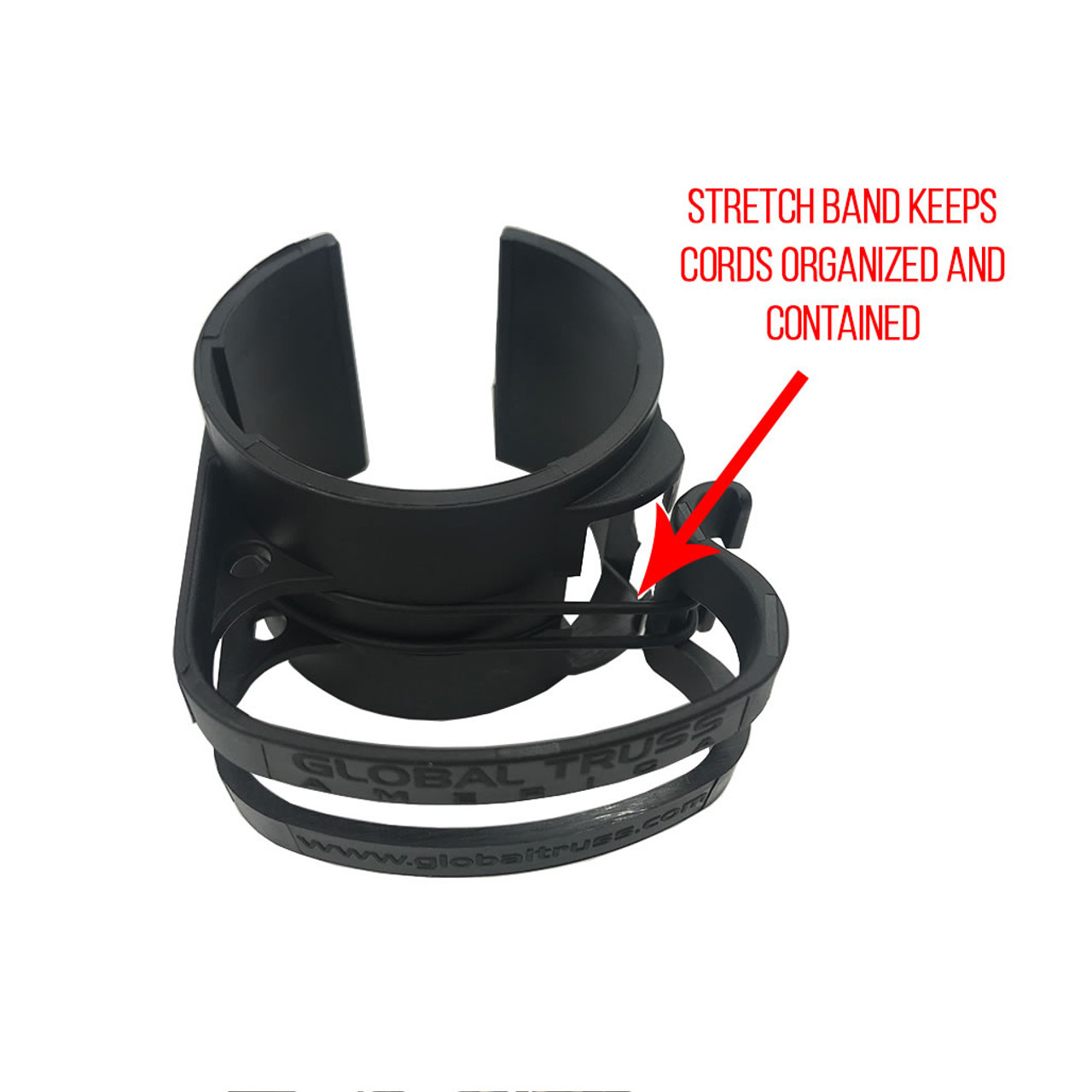 Global Truss DT Snap On Black Cable Management Clip- Stretch Band Keeps Cords Organized and Contained.
