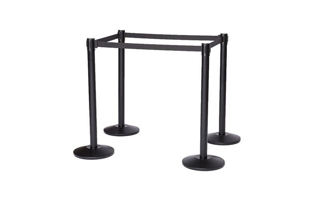 Top Selling Set of Four Black Retractable Belt Stanchions with 10' Black Belts